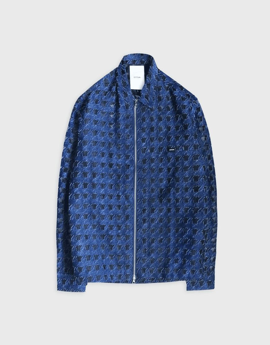 see-through Houndstooth pattern Jacquard JACKET